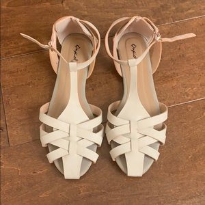 Shoes - Beige T Strap Sandal